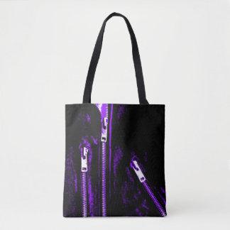 Fecha o impressão roxo por todo o lado na sacola bolsas tote