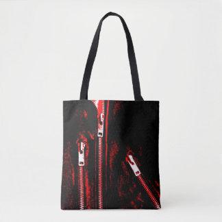 Fecha o impressão vermelho por todo o lado na bolsas tote