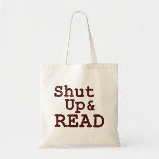 Feche acima e leia o saco de livro bolsa para compras