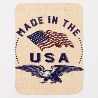 Feito no vintage Eagle dos EUA e na bandeira Cobertor Para Bebe