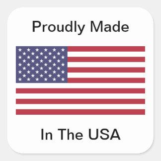 Feito orgulhosa nos EUA Adesivo Quadrado