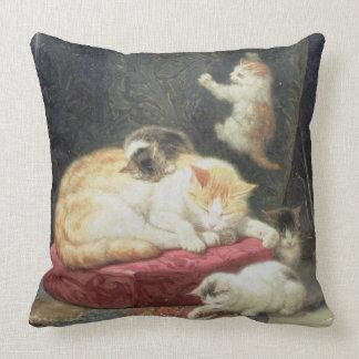 Felicidade da lareira (óleo no painel) travesseiro de decoração