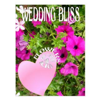 Felicidade do casamento, flores do amor cartões postais