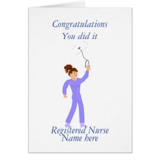 Felicitações da graduação da enfermeira cartão comemorativo