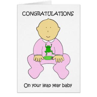 Felicitações do bebé do ano de pulo cartão comemorativo