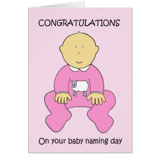 Felicitações do dia de nomeação do bebé cartão comemorativo
