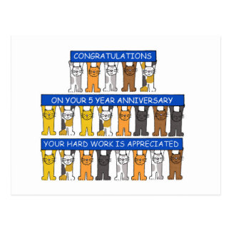 felicitações do empregado de um aniversário de 5 cartão postal