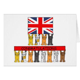 Felicitações do Reino Unido dos gatos Cartão Comemorativo