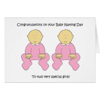 Felicitações gêmeas do dia de nomeação dos bebés cartão comemorativo