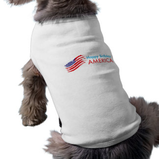 Feliz aniversario América Camisa Sem Mangas Para Cachorro