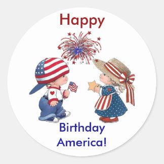 Feliz aniversario América do vintage Adesivo