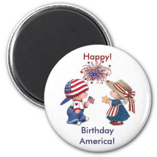 Feliz aniversario América do vintage Ímã Redondo 5.08cm