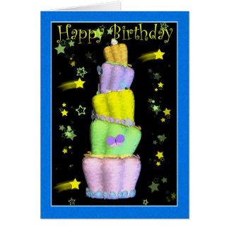 Feliz aniversario, bolo de aniversário cartão comemorativo