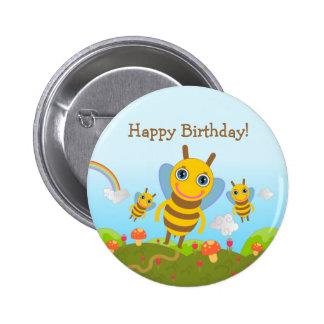 Feliz aniversario com abelhas do mel bóton redondo 5.08cm