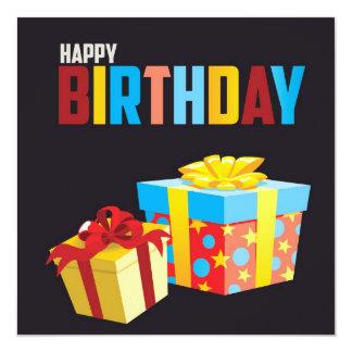 Feliz aniversario convite quadrado 13.35 x 13.35cm