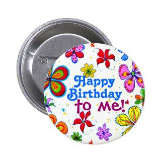 Feliz aniversario das flores grandes a mim botão bóton redondo 5.08cm