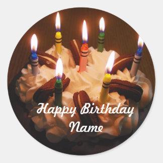 Feliz aniversario de bolo de aniversário adesivo