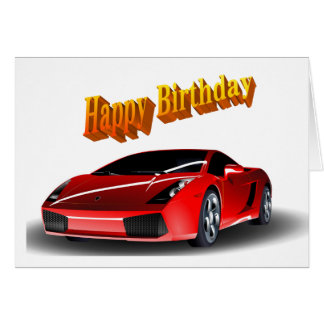 Feliz aniversario de carro de esportes cartão comemorativo