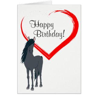 Feliz aniversario do cavalo preto bonito e do cartão comemorativo