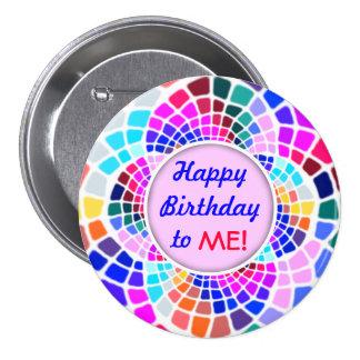 Feliz aniversario do mosaico colorido a mim Pin Bóton Redondo 7.62cm