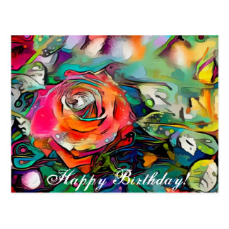 Feliz aniversario do rosa colorido brilhante cartão postal