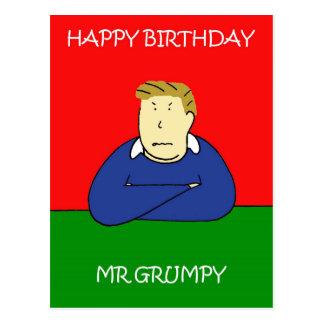 Feliz aniversario do Sr. Mal-humorado Cartão Postal