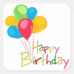 Feliz aniversario dos balões adesivo em forma quadrada