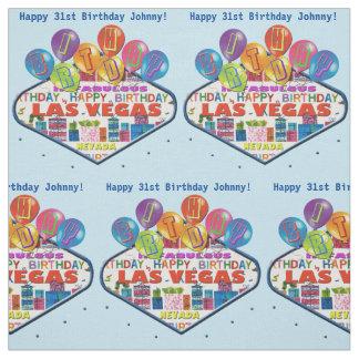 Feliz aniversario Johnny no tecido de Las Vegas