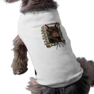 Feliz aniversario - patas de pedra - Doberman - ro Camisas Para Cães
