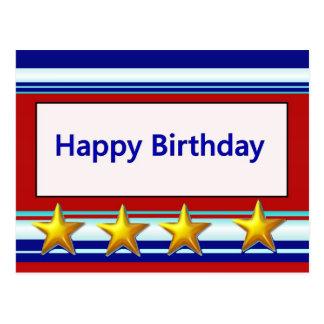 Feliz aniversario patriótico cartão postal