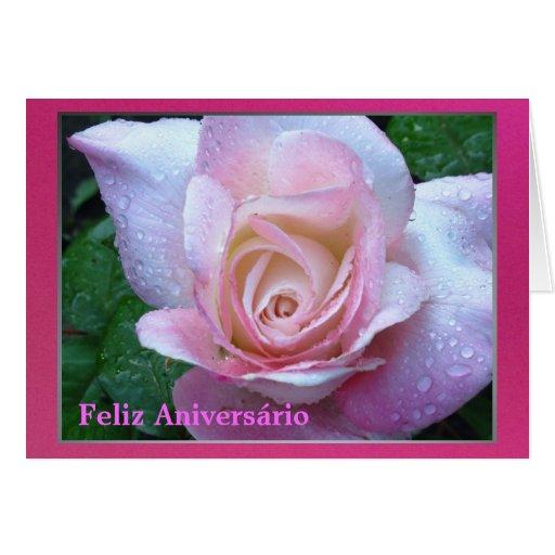 Feliz Aniversário - Rosa rosa Cartao