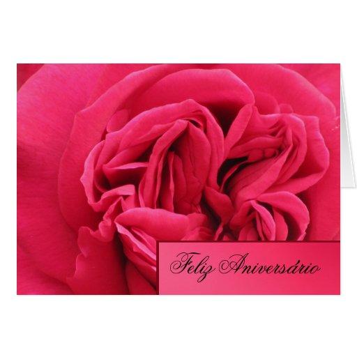 Feliz Aniversário - Rosa rosa Cartões