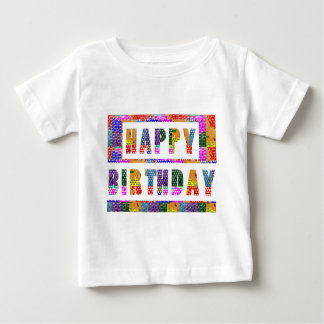 FELIZ ANIVERSARIO: T-shirt fino do jérsei do bebê