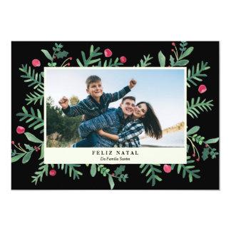 Feliz Aquarela natal   Cartão de Natal Convite 12.7 X 17.78cm