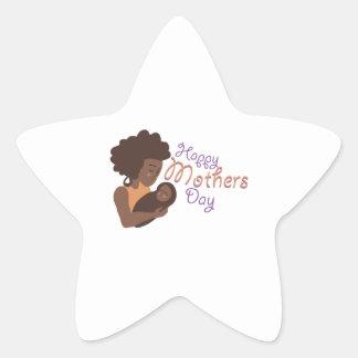 Feliz dia das mães adesivo em forma de estrela