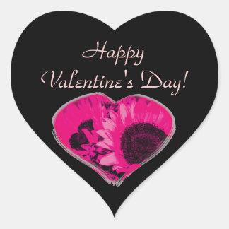 """""""Feliz dia dos namorados!"""" - Coração cor-de-rosa Adesivo Coração"""