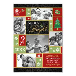 Feliz festiva & cartões com fotos brilhantes do convite 12.7 x 17.78cm