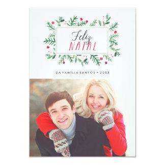 Feliz Folhagem natal Pintada | Cartão de Natal Convite 12.7 X 17.78cm