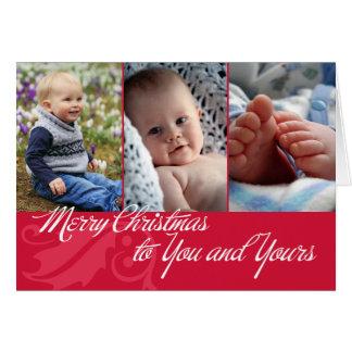 Feliz Natal a você e a seus 3 fotos vermelhas Cartão