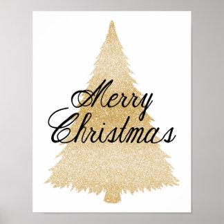 Feliz Natal - árvore de Natal do ouro - poster Pôster