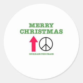 Feliz Natal (aumente a paz) Adesivo Em Formato Redondo