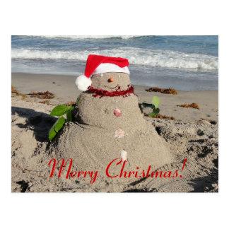 Feliz Natal! boneco de neve do sandman Cartão Postal
