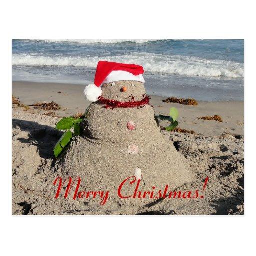 Feliz Natal! boneco de neve do sandman Cartoes Postais