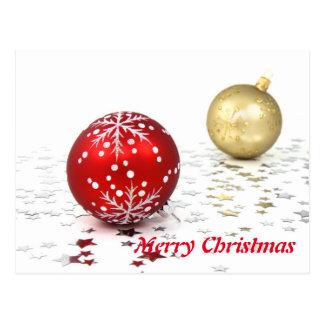 Feliz Natal branco elegante simples da bola de Cartão Postal
