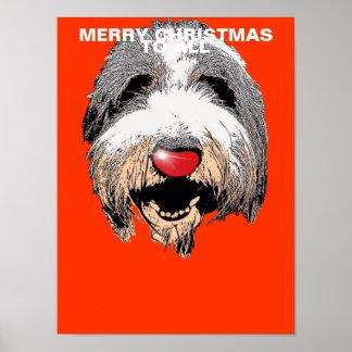 Feliz Natal de riso do cão a todo o poster Pôster