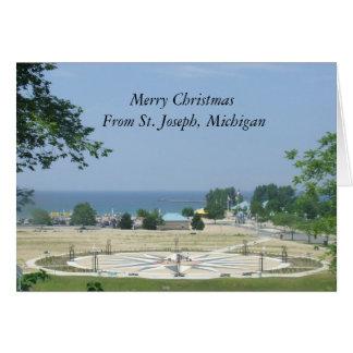 Feliz Natal de St Joseph, Michigan Cartão Comemorativo