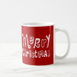 Feliz Natal - design de texto branco Caneca De Café
