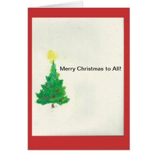 Feliz Natal do cartão 1. da árvore de Natal