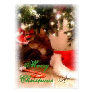 Feliz Natal do gato Cartão Postal