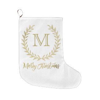 Feliz Natal do monograma da folha do branco & de Meia De Natal Grande